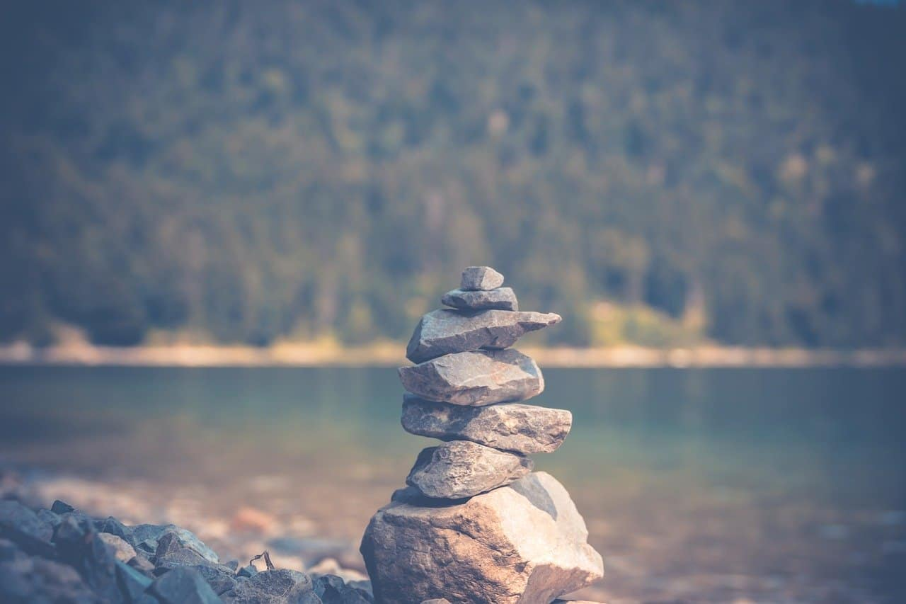 beautiful stone pile to represent strength and standing up to anxiety